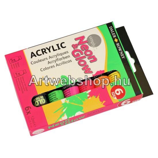 Simply Akrilfesték - 6 darabos készlet (Neon&Glow)
